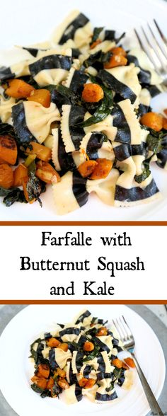 black white striped farfalle with butternut squash and kale vegetarian halloween dinner recipe