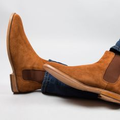Handmade men tan boots, suede leather boot for men, men chelsea dress boots Suede Leather, Leather Men, Leather Shoes, Cowhide Leather, Soft Leather, Tan Boots, Shoe Boots, Ankle Boots, Chelsea Boots Homme