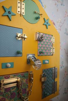 Fun DIY latch board sensory board - toddlers, babies, and all kids LOVE these busy boards!