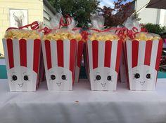 Homemade Poppycorn favors for Shopkins themed birthday party