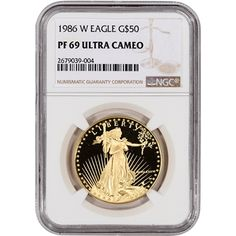 1986-W American Gold Eagle Proof 1 ounce oz $50 - certified NGC PF69 UCAM