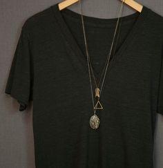 Triangle Necklace - BALANCE 25b // Unisex Men's Necklace // Simple Geometric Necklace // Minimal Brass Triangle Necklace