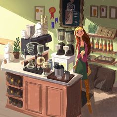 "victoriaying: ""#bighero6 concept art, honey lemon as a barista in earlier versions of the film! """