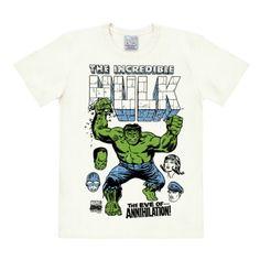 Camiseta Hulk - La Vispera de Hulk - Camiseta Marvel Comics - Hulk - The Eve of - Camiseta con cuello redondo de LOGOSHIRT - Blanco Antiguo - Diseño original con licencia, talla 3XL #camiseta #friki #moda #regalo
