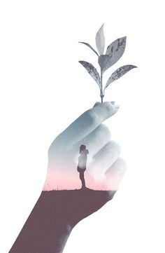 Holding flower and silhouette, double exposure effect. You can do the same effect using this Photoshop Action > http://graphicriver.net/item/double-exposure-photoshop-action/16124756 More