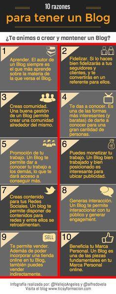 Una infografía, en español, que nos da hasta diez motivos diferentes por los que nos interesa crear y mantener un blog.