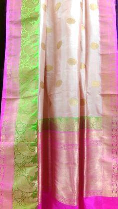 Beautiful light pink benaras silk saree with neon border