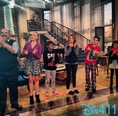 "Debby Ryan with her ""Jessie"" co-stars Peyton List, Skai Jackson, Kevin Chamberlin, Cameron Boyce and Karan Brar December 6, 2013"