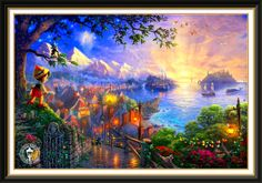 Thomas Kinkade - I have this one too. Thomas Kinkade Art, Thomas Kinkade Disney, Disney Magic, Disney Art, Most Beautiful Paintings, Kinkade Paintings, Disney Stained Glass, Thomas Kincaid, Art Thomas