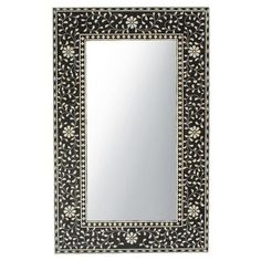 Inlay mirror frame with crisp black resin background and contrasting white bone floral design. Beautiful attention to hand cut and applied details. Decor Interior Design, Interior Decorating, White Mirror, Mirror 3, Small Apartment Living, Mirrors For Sale, Mirror Mosaic, Antique Frames, White Home Decor