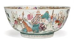 A LARGE CHINESE FAMILLE ROSE 'EIGHTEEN LUOHAN' PORCELAIN PUNCH BOWL LATE 18TH EARLY 19TH CENTURY. CHRISTIE'S