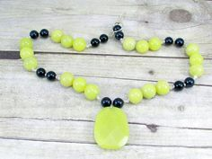 Yellow Jade and Black Pearls and Pendant Necklace  by daksdesigns