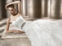 Musette Bridal, a bridal boutique in Boston, offers a variety of designer gowns, such as Pronovias whose gowns are renowned for their romantic styles. Pronovias Dresses, Wedding Attire, Wedding Dresses, Beautiful Cocktail Dresses, Illusion Neckline, Designer Gowns, Bridal Boutique, Beautiful Bride, Dress Collection