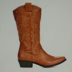 Cowboy Boots Tan cowboy boots, worn once! Super comfortable! JustFab Shoes