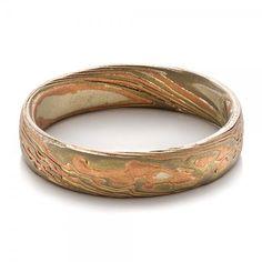 Men's Etched Mokume Wedding Ring