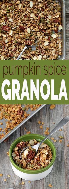 Pumpkin Spice Granola with toasted oats, pecans, sliced almonds, pepita seeds. Naturally sweetened with a combination of honey, maple syrup and pumpkin puree.