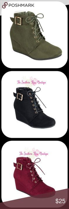 SALE!!!! Olive Oxford Wedge Lace Up Bootie SALE!!!! Lace Up Wedge Ankle Boots -Comfortable Medium Height Wedge Heel Approximately 2.5 Inches High -Cute Gold Tone Buckle on Outside of the Ankle -Beautiful Faux Suede Finish -Zipper Closure on the Inside of the Ankle & Lace Up Front -Color: Olive -Check My Boutique For This Bootie in Burgundy & Black -Materials: Synthetic -Width is Medium & It Runs True to Size -New in Box -Price is FIRM Unless Bundled Shoes Ankle Boots & Booties