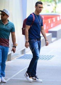 Cristiano Ronaldo Wears Nike Air Force 1 Riccardo Tisci Sneakers and MCM Backpack | UpscaleHype