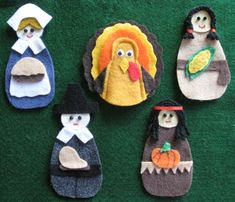 Thanksgiving felt board set with laminated rhyme. 2 Pilgrims, 2 Indians, Turkey. on Etsy, $8.00