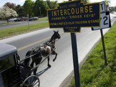 The hubby and I enjoyed a lovely spa and bed & breakfast in Intercourse, PA. We make it a point to go back. I have mad respect for the Amish people and their way of life. Amish Market, Amish Pennsylvania, Bristol Motor Speedway, Amish Community, Town Names, Horse And Buggy, Small Town America, Amish Country, Christian Church