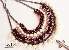 maxi colar cristais nude+burgundy*#colar pérolas#crucifixo #necklaces