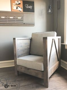 DIY Farmhouse Club Chair – Free Plans & How To Video – Shanty 2 Chic – farmhouse furniture living room Diy Living Room Decor, Living Room On A Budget, Living Room Chairs, Decor Room, Dining Chairs, Living Rooms, Diy Furniture Chair, Furniture Plans, Furniture Stores