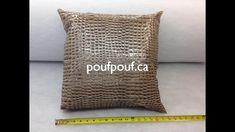 housse de coussin fait à la main chez Pouf-Pouf et compagnie poufpouf.ca Burlap, Reusable Tote Bags, Throw Pillows, Collection, Handmade Cushions, Slipcovers, Handmade, Hands, Toss Pillows