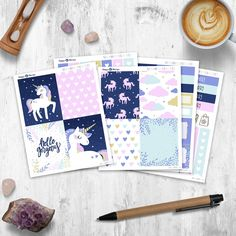 Unicorn - Mini Planner sticker kit sheets) - for Happy Planner and Erin Condren Cute Planner, Happy Planner, Cool School Supplies, Erin Condren, Gel Pens, Planner Stickers, Original Artwork, Kit, Handmade Gifts