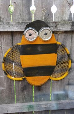 Fun Whimsy Bug Wood  Bumble Bee wall or Outdoor Art Decor Re-purposed Parts Skeleton Key Stinger