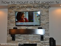 Terrific Pic Stone Fireplace Concepts How to Mount a Flat Screen TV on a STONE fireplace diy Tv Above Fireplace, Diy Fireplace, Fireplace Remodel, Tv Wall Shelves, Shelf, Television Wall Mounts, Hide Tv Wires, Hiding Wires, Hanging Tv