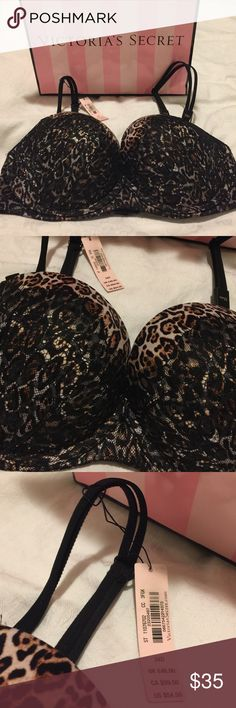 NWT Victoria's Secret Very Sexy multi-way Bra Brand New. Size 34d multi-way multi option bra in leopard with black lace overlay. Can be worn as normal, strapless or criss cross Victoria's Secret Intimates & Sleepwear Bras