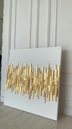 Gold Leaf Art, Gold Wall Art, Gold Art, Diy Wall Art, Home Decor Wall Art, Diy Art, Resin Wall Art, Craft Room Decor, Leaf Wall Art