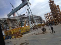 Under construction and not all that far from sister ship Royal Princess in the ship yard