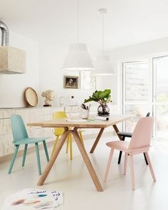 Lovely idea for a dining space in pastel.