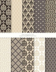 "Damask Digital Scrapbook Paper Pack (8.5x11""-300 dpi) -- 10 Digital papers -- 327 - for decoupage table remodel"