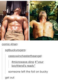 ''Someone let the foil on Bucky.'' OMG!!! GET THE FUCK OUT OF HERE!! SERIOUSLY!! / Steve Rogers & Bucky Barnes