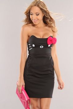 Black Hello Kitty Bow Accent Sexy Dress $89.00