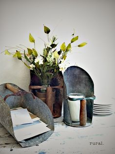 Would love to get my hands on a few of these fabulous old grain scoops for my farmhouse decorating!