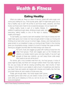 This Reading Comprehension Worksheet - Eating Healthy is for teaching reading comprehension. Use this reading comprehension story to teach reading comprehension. Best Picture For Reading Comprehension Reading Comprehension For Kids, Reading Passages, Reading Skills, Teaching Reading, English Stories For Kids, English Lessons, Learn English, English Reading, English Writing