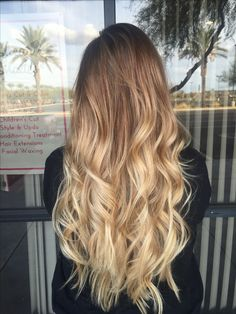 Long blonde balayage hair                                                                                                                                                     More