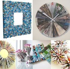 DIY Recycling Ideas . i love the wall clock idea on the top right
