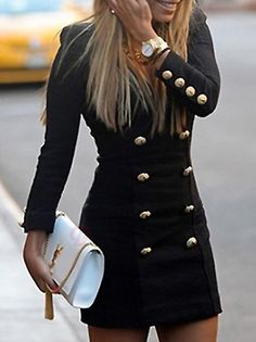 Stylish Solid Color Double-breasted Slim Dress Black #dress #fashion #buytrends