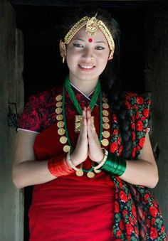 Nepali girl in authentic dress