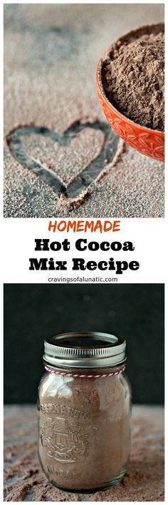 Homemade hot cocoa mix is the perfect easy recipe for anyone that loves chocolate. Make a big batch to give as gifts for the holidays! #recipe #chocolate #drink