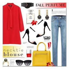 """""""Fall Trend: Necktie Blouse & Fall Fragrance- Yoins 8"""" by anyasdesigns ❤ liked on Polyvore featuring Hera, Victoria Beckham, Chanel, Elizabeth and James, Butter London, NARS Cosmetics and Tiffany & Co."""