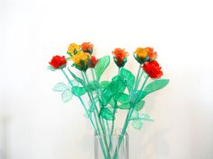 bunch of flower, red, yellow roses, Home decor, gift, bouquet, ECO friendly, floral arrangement, housewares, handmade. €35,00, via Etsy.