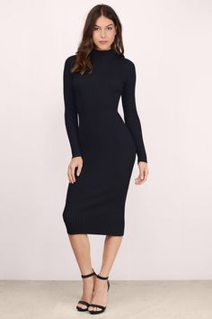 Go Bold In The Grand Entrance Midi Bodycon Dress. Midi Length Dress With Long Sleeves And A High Neck. Wear With Heeled Booties Or Strappy Heels For The Night Out.