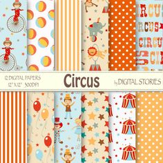 Circus Digital Paper CIRCUS Circus Patterns for by DigitalStories, €2.60