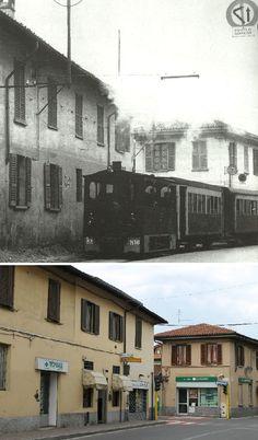 Sedriano - Via Fagnani Magenta incrocio con via Leonardo da Vinci. Anni Cinquanta -2013 (45.487539,8.969751 45°29'15.14''N 8°58'11.38''E)