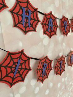Happy Birthday Spiderman, Spiderman Theme Party, Superhero Party, Spider Man Birthday, Diy Birthday Banner, Boy Birthday Parties, Happy Birthday Banners, Birthday Party Decorations, 5th Birthday